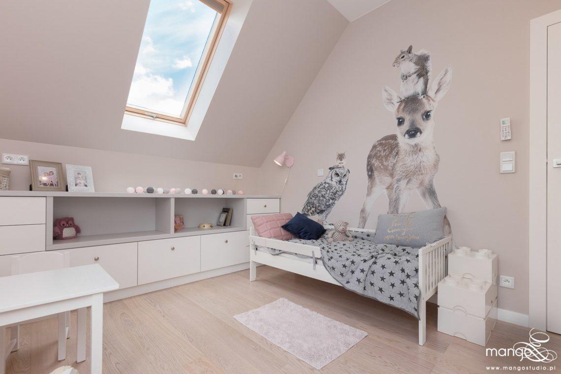 Mango Studio Projektowanie wnętrz pod klucz dom nowoczesny pokój dziewczyki różowy słodki kropki na ścianie(22)