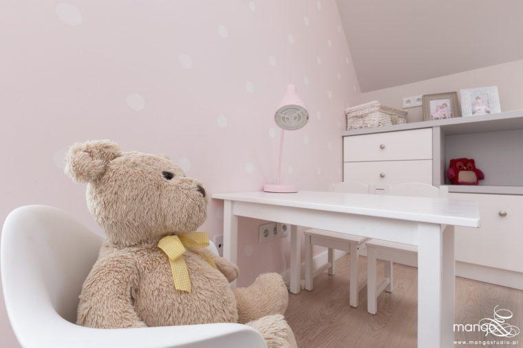 Mango Studio Projektowanie wnętrz pod klucz dom nowoczesny pokój dziewczyki różowy słodki kropki na ścianie(26)