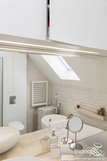 Mango Studio Projektowanie wnętrz pod klucz dom loftowy kolonialny nowoczesny biała łazienka z cegłą (28)