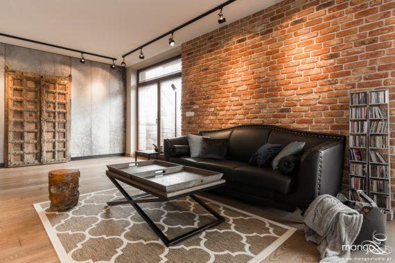 Projekt - dom loftowy kolonialny nowoczesny salon