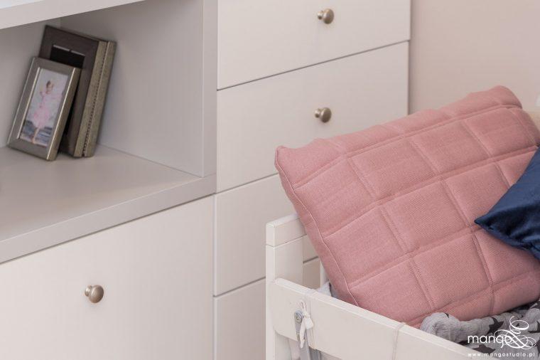 Mango Studio Projektowanie wnętrz pod klucz dom nowoczesny pokój dziewczyki różowy słodki kropki na ścianie(28)